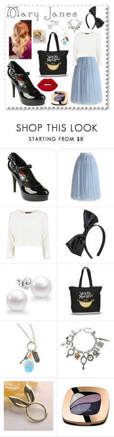 """""""Mary Janes for Alice"""" by allisonwonderland13 ❤ liked on Polyvore featuring Disney, Chicwish, Lipsy, Q&Q, Fit-to-Kill, L'Oréal Paris, Lime Crime, disney, aliceinwonderland and maryjanes"""