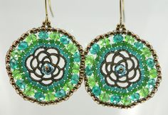 Peacock Beaded Earrings Green Blue Teal Rose by createdbycarla