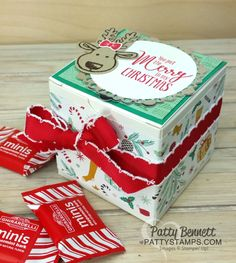 Christmas 3x3 square on White Gift Box, featuring Stampin Up stamps, paper, ink. Cookie Cutter Christmas bundle reindeer and Presents & Pinecones paper..