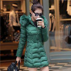 2015 Plus Size nova chegada quente para baixo e Parkas manga comprida Zipper estilo Outwear mulheres jaqueta casaco de inverno de espessura em Casacos de Plumas e Parcas de Moda e Acessórios no AliExpress.com | Alibaba Group