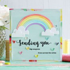 Sending you big congrats - 2017-04-21 - koolkittymusings.typepad.com | Paper: Pink Paislee Stamps: Winnie & Walter (Sending You) Dies: Mama Elephant (Rainbow High), Lawn Fawn (Hearts) Sequins: Pretty Pink Posh Other: Watercolour paper, watercolour paints, 3D tape, MISTI, Wink of Stella