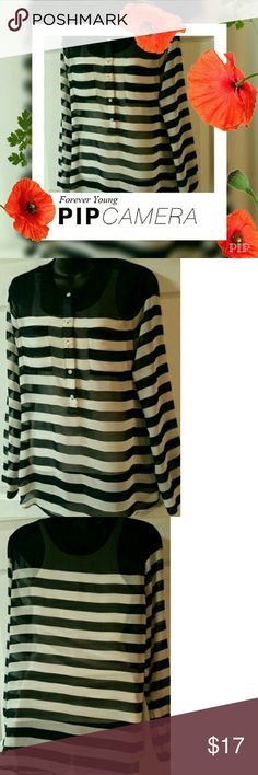 Last call final price reduction. Excellent condition navy blue and white sheer top. Old Navy Tops Blouses