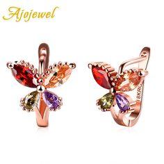 Ajojewel zirconia femminile bijuterias in oro rosa placcato farfalla orecchini per le donne di nozze regalo di natale