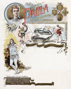 Mademoiselle Paula, The Famous Reptile Conqueror, 1899  Source