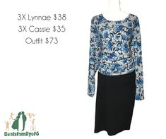 Keep it Classic with this black #LuLaRoeClassic pencil skirt.  Complemented with a spice of personality with this blue floral #LuLaRoeLynnae.  Throw on some chucks to dress down or some cute shoes for comfy cute office wear!  Check out this outfit and the others available by clicking through to my boutique!