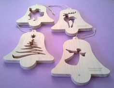 Shop for wedding on Etsy, the place to express your creativity through the buying and selling of handmade and vintage goods. Wooden Christmas Decorations, Christmas Wood Crafts, Etsy Christmas, Christmas Bells, Christmas Items, Christmas Angels, Christmas Tree Ornaments, Holiday Crafts, Christmas Crochet Patterns