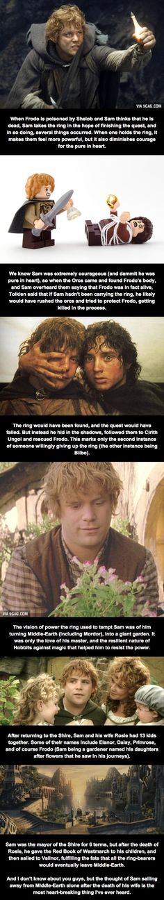 Yet another thousand reasons Sam was and always will be my favorite character in the Lord of the Rings :)