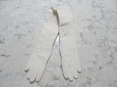 "VINTAGE 1950's UNUSED-NWT'S 14"" White Elaborately Beaded Opera Gloves----Size 7----Glove Auction #1200 by PrimaMona on Etsy"