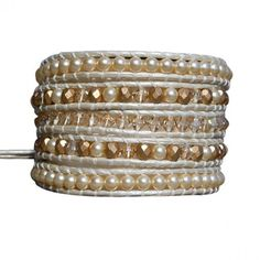 Swarovski Crystal & Swarovski Pearl Leather Wrap Bracelet by 9th&Elm