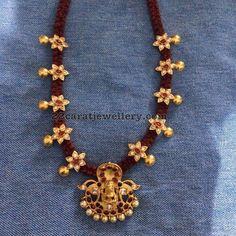 Thread Necklace with Lakshmi Pendant - Jewellery Designs Gold Earrings Designs, Gold Jewellery Design, Bead Jewellery, Necklace Designs, Pendant Jewelry, Beaded Jewelry, Designer Jewellery, Jewelry Rings, Gold Designs