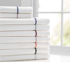 Pearl Embroidered 280-Thread-Count Sheet Set #potterybarn Twilight blue