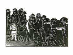 Women #1, women, girl, islam, niqab, hijab, linocut, print, hand-pulled, black & white, Ellen Von Wiegand