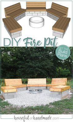 Fire Pit Bench, Fire Pit Seating, Diy Fire Pit, Fire Pit Backyard, Backyard Patio Designs, Backyard Projects, Diy Patio, Diy Backyard Ideas, Firepit Ideas