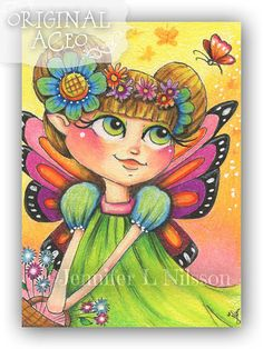 ACEO Original  Pocket Full of Posies  colorful by JLNilsson