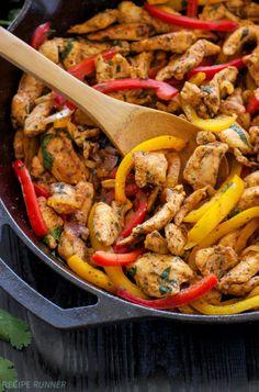 Skillet Chicken Fajitas | Quick, easy, gluten free, & paleo skillet chicken fajitas are perfect for busy nights! #zayconfresh