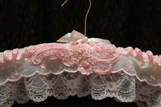 Padded WeDDING HANGeR  HANGER COUTURE  Pink Hearts  by MaryMarryMe