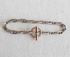 Hermes Paris Antique Deco Bracelet Silver 800 and Gold Chaine D Ancre  Bracelet   eBay f248e1384cc