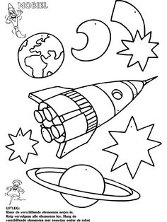 De Ruimte - Mobielen - Knutselpagina.nl - knutselen, knutselen en nog eens knutselen. Colouring Pages, Coloring Pages For Kids, Coloring Sheets, Coloring Books, Feb Calendar, Solar System Worksheets, Outer Space Crafts, Space Theme, Crafty Kids