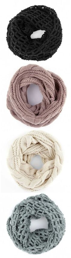 Infinity Scarves in neutral colors are great.