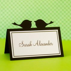Customized Love Bird Wedding Place Cards with by prettypaperparty, $15.00