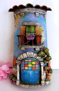 Maybe try using a pringles can and polymer clay - love the blobs! Polymer Clay Fairy, Fimo Clay, Polymer Clay Projects, Clay Crafts, Diy And Crafts, Clay Houses, Ceramic Houses, Clay Fairy House, Fairy Houses