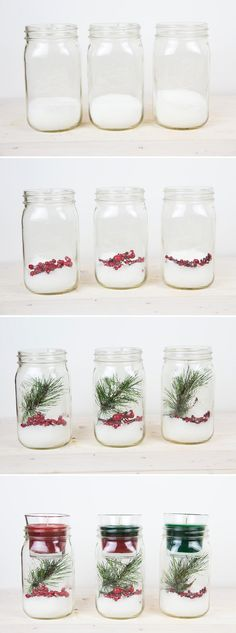 painted mason jars With this DIY Christmas Mason Jar Candle Holder, you just have to add a fun holiday votive to make guests feel like they're walking in a winter wonderland. Mason Jar Candle Holders, Mason Jar Gifts, Mason Jar Candles, Mason Jar Diy, Beeswax Candles, Christmas Candles, Diy Christmas Gifts, Nordic Christmas, Diy Christmas Centrepieces