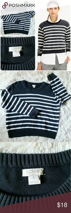 💕 J. Crew Cropped Cotton Sweater In Stripe L Cute sweater in size L Great condition J.Crew Factory Tops