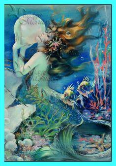 s276 MERMAID FABRIC Vintage Mermaid Poster by wwwvintagemermaidcom, $3.00