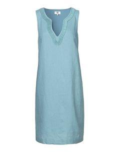 Feminin hørkjole - Blå