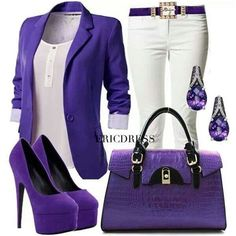 Purple outfit minus those heels again I like standing upright! Purple Outfits, Komplette Outfits, Classy Outfits, Summer Outfits, Casual Outfits, Fashion Outfits, Womens Fashion, Fashion Trends, Purple Fashion