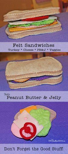 Felt Sandwich and Freebie Patterns Felt Food Sandwiches Tutorial from {PB&J, Turkey, Cheese, Veggies Tutorial & Patterns} Felt Diy, Felt Crafts, Felt Food Patterns, Pretend Food, Pretend Play, Felt Play Food, Fake Food, Diy Food, Diy For Kids
