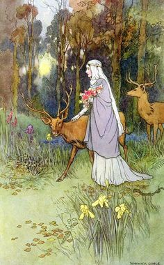 """""""""""The dun deer wooed with manner bland and cowered beneath her lily hand."""" Color process illustration by Warwick Goble for The Book of Fairy Poetry, published in """" Fantasy Kunst, Fantasy Art, Fantasy Posters, Warwick Goble, Art Magique, Art And Illustration, Book Illustrations, Fairytale Art, Art Moderne"""