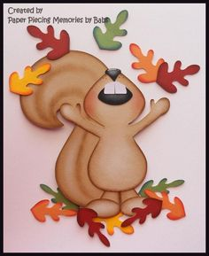 Fall Squirrel Premade Paper Piecing Die Cut for Scrapbook Page by Babs Fall Paper Crafts, Autumn Crafts, Autumn Art, Thanksgiving Crafts, Felt Crafts, Diy And Crafts, Crafts For Kids, Arts And Crafts, Fall Drawings