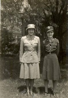 Women's Army Corps officer wearing summer service uniform (left) and Army Nurse Corps officer in olive-drab off-duty dress (right) ~