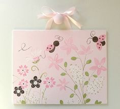 Love Bug Ladybug & Flowers Pink And Brown Custom Wall Art