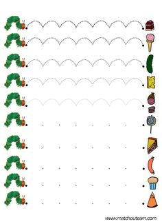 Very hungry caterpillar. Preschool Books, Preschool Printables, Preschool Worksheets, Preschool Learning, Literacy Activities, Hungry Caterpillar Activities, Very Hungry Caterpillar, Pre Writing, Writing Skills