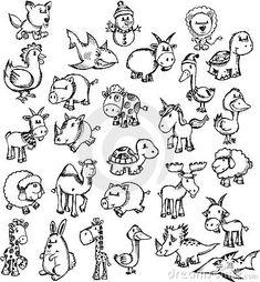 Doodle Sketch Animal Set