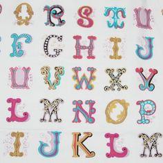 Michael Miller  - Alphabets Michael Miller, Fonts, Fabrics, Lettering, Alphabet, Designer Fonts, Tejidos, Types Of Font Styles, Drawing Letters