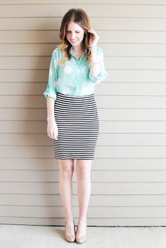 Stripes skirt with a polka dot pastel blouse: pattern mixing
