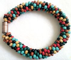 Multicolor Bead Crochet Bracelet, beadwork, handmade | JRPDesigns - Jewelry on ArtFire