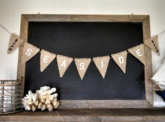 Seaside Burlap Banner Lighthouse Beach Bunting Nautical Triangle Pennant Flag Summer Party Sign on Etsy by Sweet Thymes