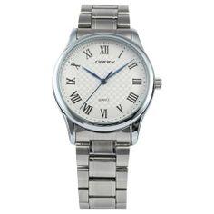 SINOBI White Dial Lady Mens Silver Tone Steel Band Sport Quartz Wrist Watch Gift SINOBI. $17.99