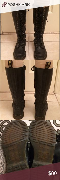 Dr. Martens 20 Eye Boots Authentic... Completely Broken In...Dr. Marten 20 Eye Lace Up Boots...Side zipper...Size 5...Overall, good condition. Dr. Martens Shoes Combat & Moto Boots