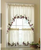 Vineyard Grapes Embroidered Kitchen Curtains & Valance By Collections Etc