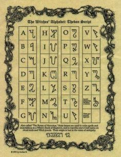 Witches alphabet also known as the Theban alphabet. Script is of unclear origin, first appeared in a Latin manuscript in the sixteenth century, in which the author claims that it was created by Honorius of Thebes about five hundred years earlier. The letters correspond to Latin letters. Gerald Gardner, the creator of Wicca, encouraged use of the alphabet by modern Wiccan practitioners in the 1950s. Today, many Wiccans use it to mask the meanings of secret spells and texts.