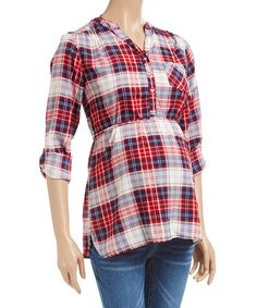 Perfect outfit for the Fall. Times 2 Red & White Plaid Maternity Henley Top   zulily.