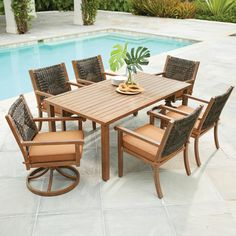 Hampton Bay Kapolei Wicker Outdoor Dining Set with Reddish Brown Cushion at The Home Depot - Mobile Wicker Porch Furniture, Bedroom Furniture Sets, Dining Furniture, Outdoor Furniture Sets, Wicker Bedroom, Glass Dining Table Set, Outdoor Dining Set, Patio Dining, Dining Sets