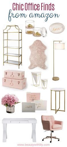Chic Office Finds // Affordable Home Office Decor // Home Office Ideas // Home Decor // Girly Home Decor // Blush Decor Ideas Beauty With Lily Apartment Office, Home Office Space, Home Office Design, Home Design, Office Designs, Design Ideas, Office Spaces, Apartment Ideas, Chic Apartment Decor