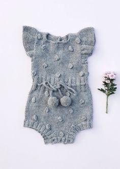 Hand Knitted Pom Pom Baby Romper | bumblegoosie on Etsy