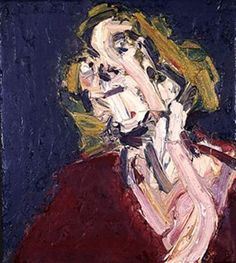 Frank Auerbach, oil on canvas. The strong brush strokes created by frank auerbach helps to create a textured bold painting.